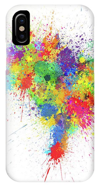 Brazil iPhone X Case - Brazil Paint Splashes Map by Michael Tompsett