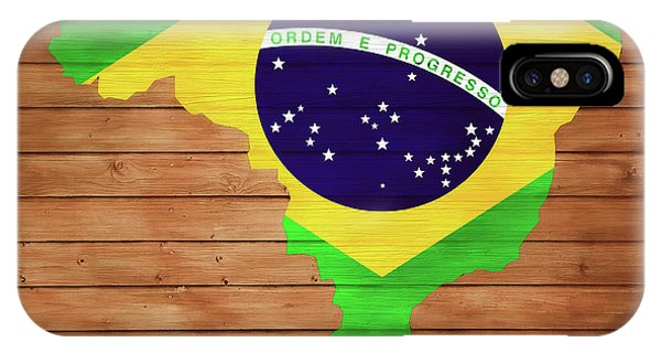 Traveler iPhone Case - Brazil Rustic Map On Wood by Dan Sproul