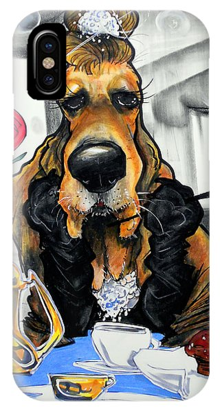 Caricature iPhone Case - Breakfast At Tiffany's Basset Hound Caricature Art Print by John LaFree