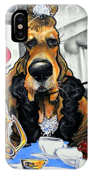 Breakfast At Tiffany's Basset Hound Caricature Art Print IPhone Case