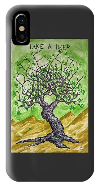 IPhone Case featuring the drawing Breathe Love Tree by Aaron Bombalicki