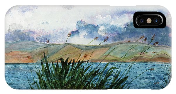 Brewing Storm Over Lake Watercolor Painting IPhone Case