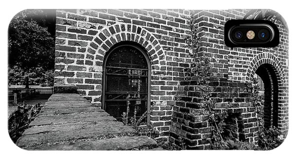 Brick Courtyard In Black And White IPhone Case