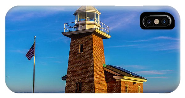 Santa Cruz Surfing iPhone Case - Brick Lighthouse At Point Pinos by Garry Gay
