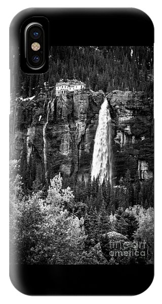 Bridal Veil Falls In Bw IPhone Case