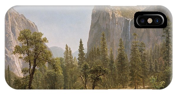 Bridal iPhone Case - Bridal Veil Falls Yosemite Valley California by Albert Bierstadt