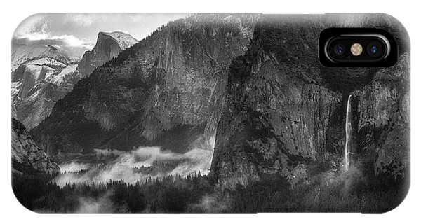 Bridalvail Falls And Half Dome IPhone Case