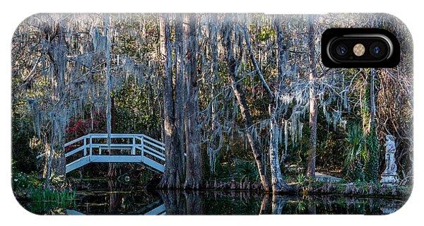 Bridge And Statue At Magnolia Plantation Gardens IPhone Case