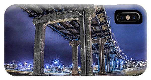 Centennial Bridge iPhone Case - Bridge In The Night by Ray Congrove