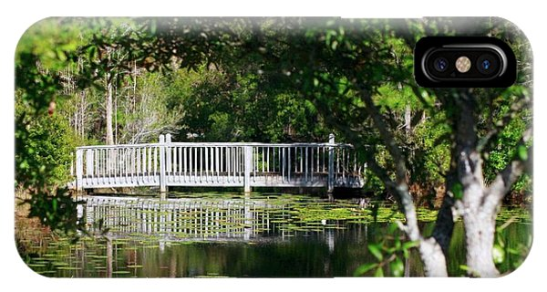 Bridge On Lilly Pond IPhone Case