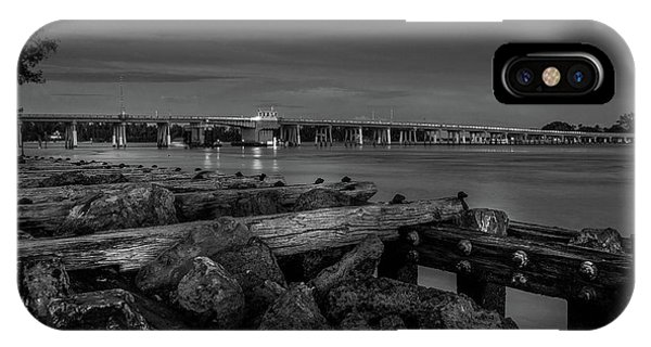 IPhone Case featuring the photograph Bridge To Longboat Key In Bw by Doug Camara