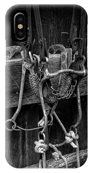 Bridle And Barn In Black And White IPhone Case