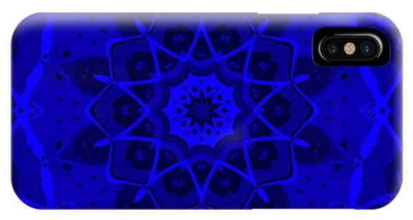 IPhone Case featuring the digital art Brigadoon No. 1 Neon Blue by Joy McKenzie
