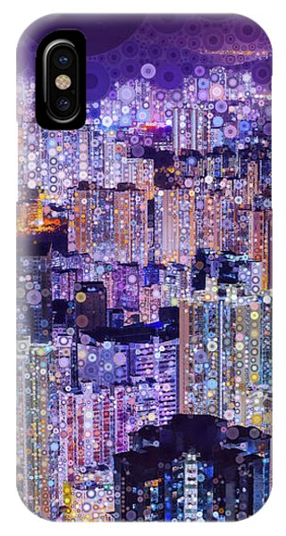 IPhone Case featuring the mixed media Bright Lights, Big City by Susan Maxwell Schmidt