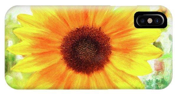 Bright Yellow Sunflower - Painted Summer Sunshine IPhone Case