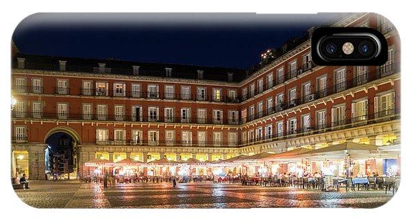 Midnite iPhone Case - Brightly Lit Midnight - Plaza Mayor In Madrid Spain by Georgia Mizuleva