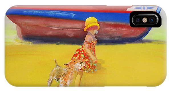 Brightly Painted Wooden Boats With Terrier And Friend IPhone Case