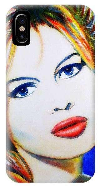 IPhone Case featuring the painting Brigitte Bardot Pop Art Portrait by Bob Baker