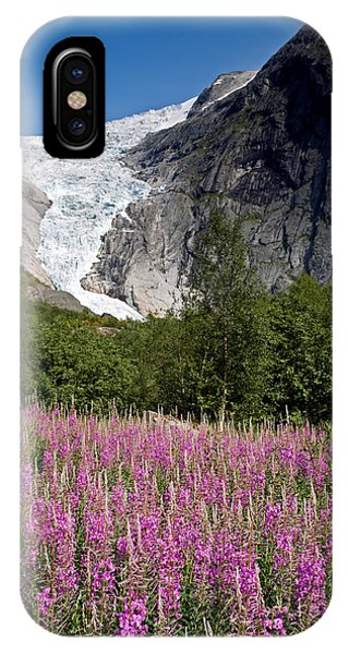 Briksdal Glacier And Wildflowers IPhone Case