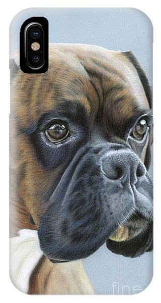 IPhone Case featuring the painting Brindle Boxer Dog - Jack by Donna Mulley