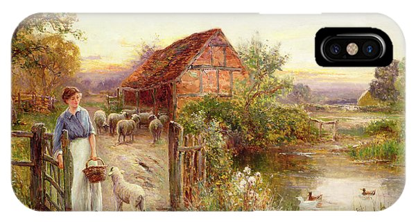 Farm iPhone Case - Bringing Home The Sheep by Ernest Walbourn