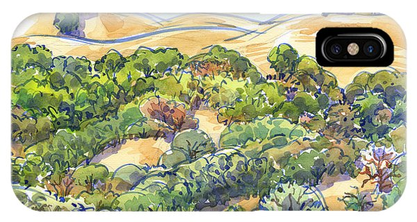 IPhone Case featuring the painting Briones Regional Park Hills by Judith Kunzle