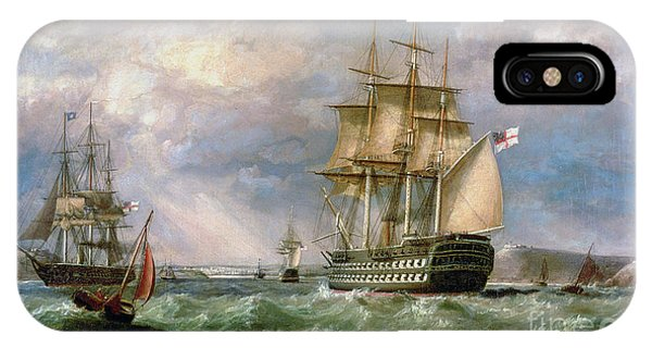 British Men-o'-war Sailing Into Cork Harbour  IPhone Case