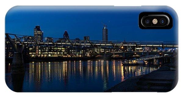 British Symbols And Landmarks - Millennium Bridge And Thames River At Low Tide IPhone Case