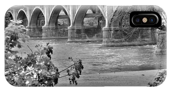 IPhone Case featuring the photograph Gervais Street Bridge Black And White by Lisa Wooten