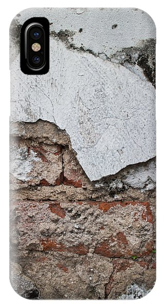 Broken White Stucco Wall With Weathered Brick Texture IPhone Case