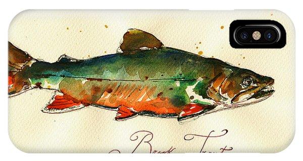 Trout iPhone Case - Brook Trout Art by Juan  Bosco