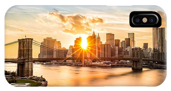 Brooklyn Bridge And The Lower Manhattan Skyline At Sunset IPhone Case