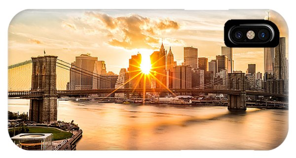 Bridge iPhone Case - Brooklyn Bridge And The Lower Manhattan Skyline At Sunset by Mihai Andritoiu