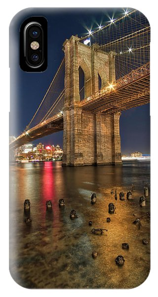 IPhone Case featuring the photograph Brooklyn Bridge At Night by Mark Dodd