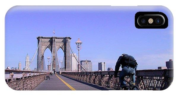 Brooklyn Bridge Bicyclist IPhone Case