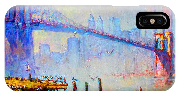 Seagull iPhone Case - Brooklyn Bridge In A Foggy Morning by Ylli Haruni