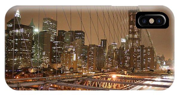 IPhone Case featuring the photograph Brooklyn Bridge Night Sky by Wilko Van de Kamp