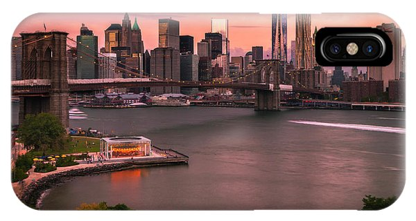 Brooklyn Bridge Over New York Skyline At Sunset IPhone Case