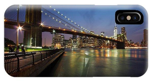 Brooklyn Bridge Park Scenic At Dusk Phone Case by Daniel Portalatin