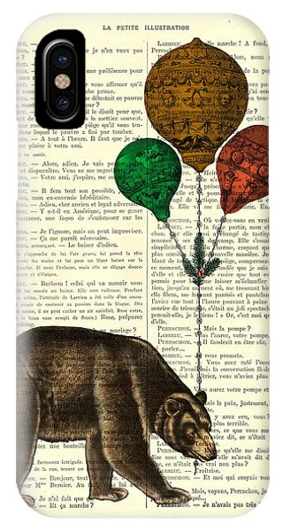 Minnesota iPhone Case - Brown Bear With Balloons by Madame Memento