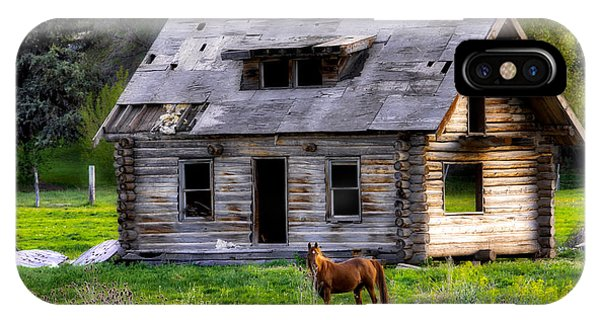 Brown Horse And Old Log Cabin IPhone Case