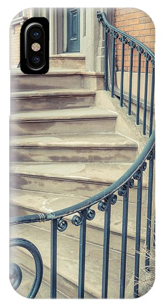 Brownstone iPhone Case - Walkup Brownstone Stairs Providence Rhode Island by Edward Fielding