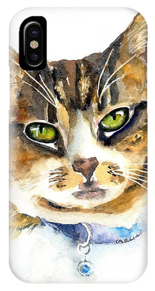 Watercolor Pet Portraits iPhone Case - Brown Tabby Cat Watercolor by Carlin Blahnik CarlinArtWatercolor