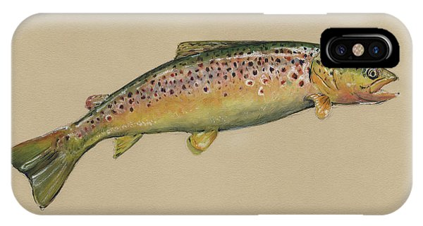 Trout iPhone Case - Brown Trout Jumping by Juan Bosco