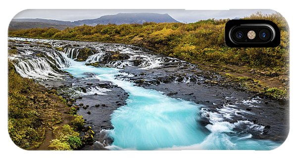 IPhone Case featuring the photograph Bruarfoss In The Gloom by Rikk Flohr