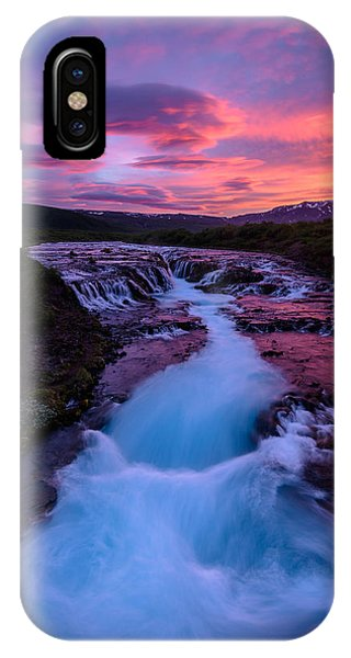 Bruarfoss Summer Sunet IPhone Case