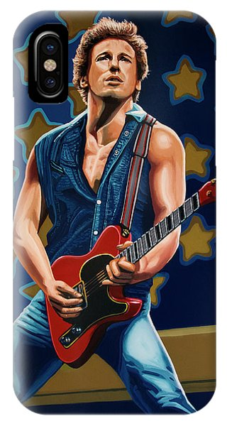 Rock And Roll Art iPhone Case - Bruce Springsteen The Boss Painting by Paul Meijering