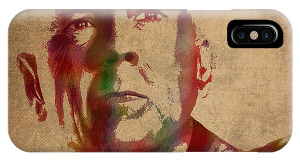 Bruce Willis Watercolor Portrait Hollywood Actor On Worn Distressed Canvas IPhone Case