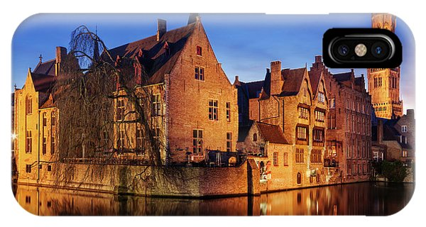 IPhone Case featuring the photograph Bruges Architecture At Blue Hour by Barry O Carroll