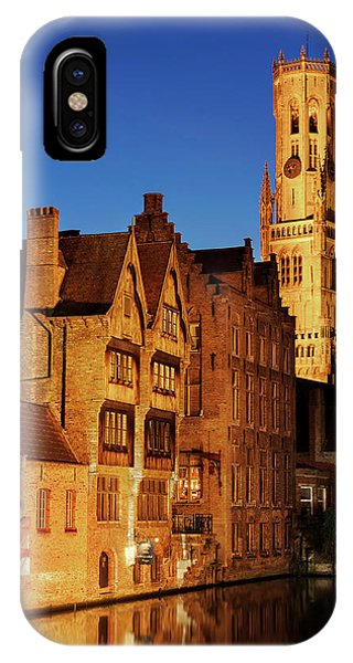 IPhone Case featuring the photograph Bruges Belfry At Night by Barry O Carroll